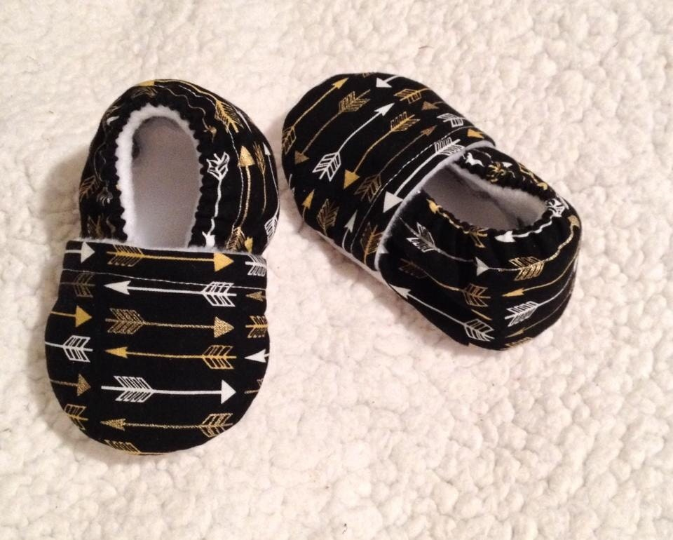 White Amp Gold Arrows In Black Baby Booties Prints May Vary