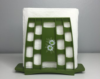 vintage plastic green napkin holder with daisies