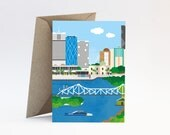 Story Bridge Brisbane – Welcome, housewarming, farewell, I miss you or Thinking of you card with envelope