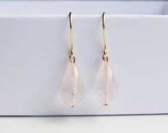 AA pink rose quartz faceted gemstone teardrop drop hook 14ct gold filled earrings