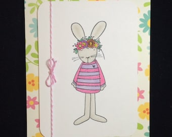 Flower Bunny Greeting Card