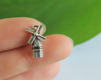 wholesale-20pcs  Antique Silver Windmill Charms Pendants Jewelry Findings  9*17mm