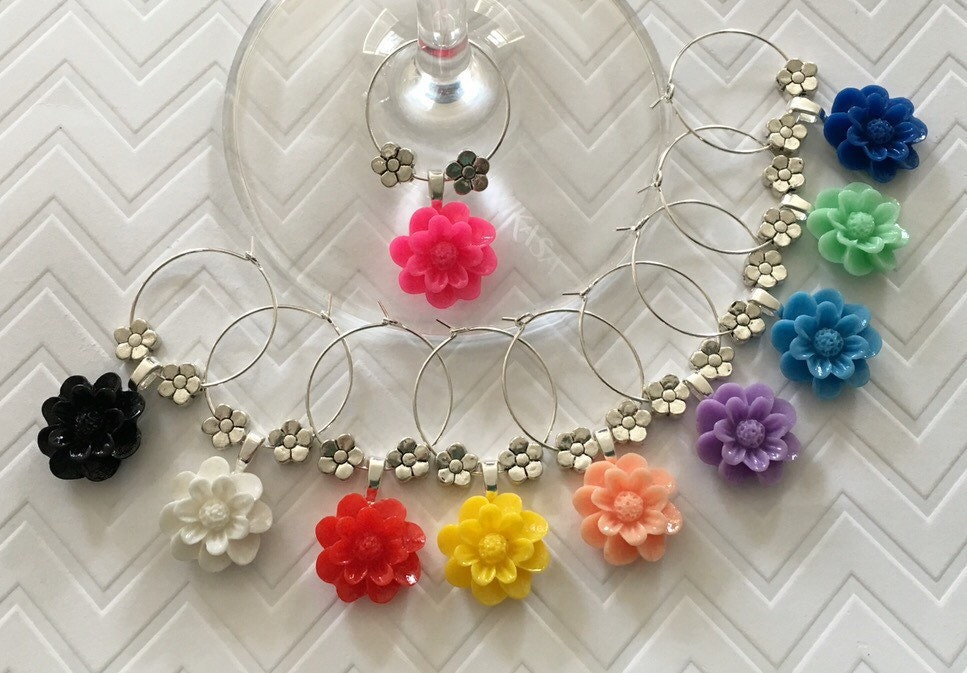 Flower Wine Charms   Set Of 10   Girls Night Out, Party Favors, Hostess
