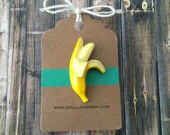 Banana Lapel Pin / Tie Tack - Resin - Half Peeled - Large