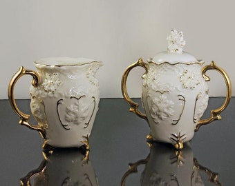 Mini Sugar Bowl and Creamer, Snowflake Pattern, Collectible, White and Gold, Porcelain