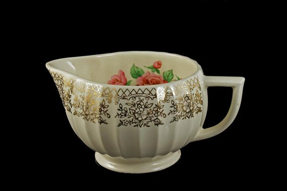 Creamer, Sebring Pottery, China Bouquet, Pink Roses, Gold Filigree Trim