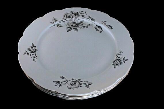 Dinner Plates, Cmielow Poland, Set of 4, Black and Gray Roses, Platinum Trim, Fine China