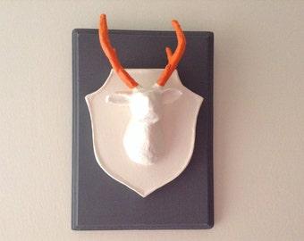 Faux Taxidermy, Deer Head, Wall Plaque, Wall Decor, Home Decor, White Deer Head