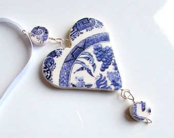 Christmas Ornament - Christmas Decoration - Tree Decoration- Blue and White - Heart Decoration - Willow Pattern- Xmas Tree Ornament Handmade