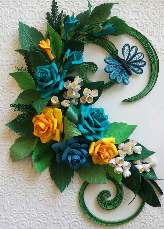 Handmade Quilling Wall Art Roses Romantic