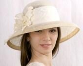 Cream wedding hat, widebrim bridal hat, Melbourne cup hat, Kentucky derby hat, Summer Wedding hat, Royal Ascot hat, Bridal hat, Sardareva
