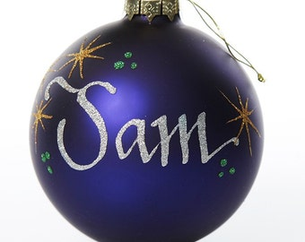 Personalised Blue Glass Christmas Bauble - Medium