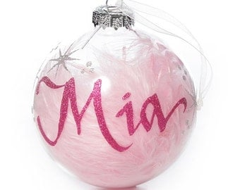 Pink Feather Clear Glass Personalised Christmas Bauble - Large