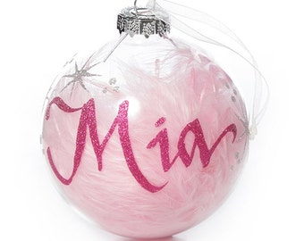 Pink Feather Clear Glass Personalised Christmas Bauble - Medium