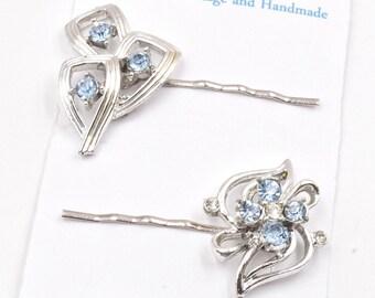 Baby blue rhinestone hair pins, ice blue rhinestone bobby pins, 1950s vintage earring wedding hair pins, something blue, flower hair clips
