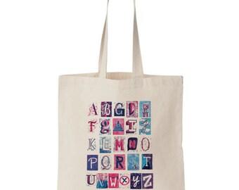 Alphabet Print Canvas Market Tote - Free Shipping!