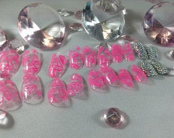 clear nails,press on nails,fake nails,false nails, oval fake nails,acrylic nails,nail art,nails,fake nail set,bling nails,pink nails,glueon
