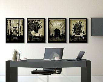 Miyazaki Art Poster Set, My Neighbor Totoro, Princess Mononoke, Spirited Away, How'ls Moving Castle, Japanese Poster, Miyazaki minimalist