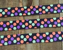 Halloween Ribbon 7/8, Polka Dot Ribbon, Neon Ribbon