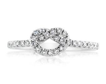 Diamond Love Knot Ring 14K