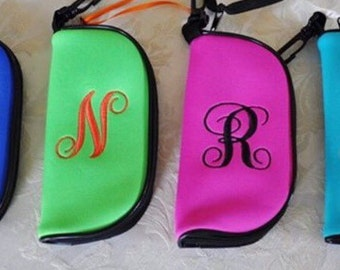 Personalized neoprene glasses/sunglasses case  can be embroidered with first or last name, monogram or initial!