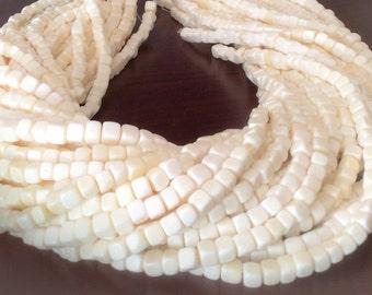 "White bone beads cube 16"" strand"