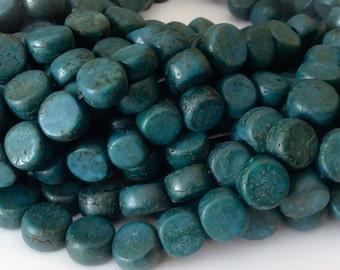 "Teal Betel Nut Beads Salwag 10mm flat round 16"" strand"