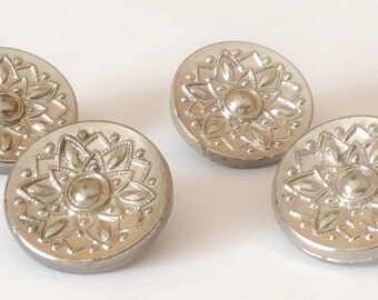 Silver luster vintage glass button lot-4pc