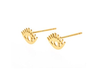Gold Plated Evil Eye Earrings
