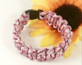 Paracord bracelet-CLOSEOUT-Pink Camoflauge