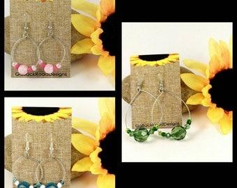 Wire hoop bead earrings