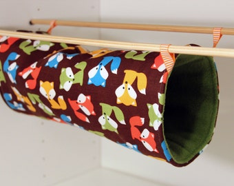 Hanging Rat Tunnel, Ferret Tube Hammock - Foxes with Olive Fleece