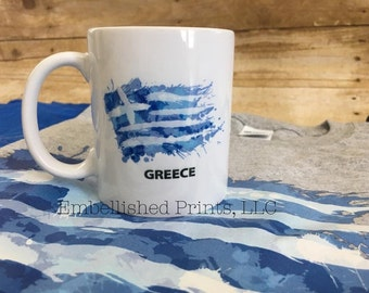 Greek 11 ounce ceramic coffee mug with Greece flag