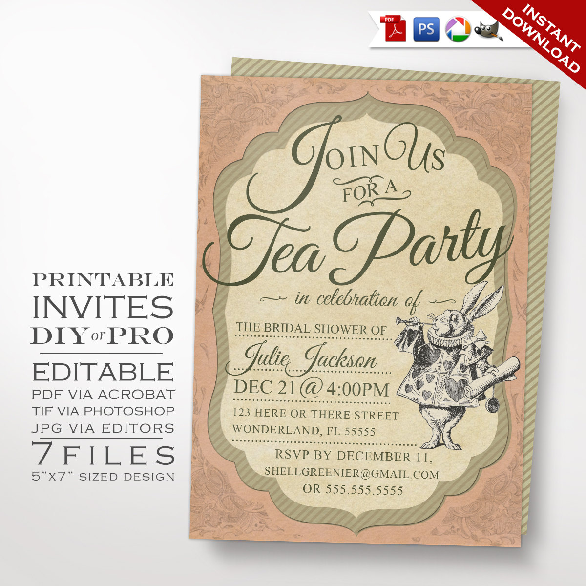 Alice in Wonderland Tea Party Invitation Template Vintage