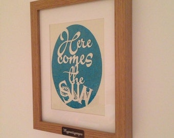 Beatles,  Here comes the sun, framed papercut - wall art