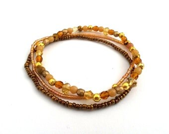 Beaded Stretch Bracelets, Brown Bracelet, Seed Bead Bracelet, Bracelet Set Seed Bead Jewelry, Brown Jewelry, Bridesmaid Bracelet