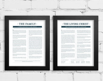 LDS Family Proclamation to the World and The Living Christ Matching Set of Prints - LDS Wall Art, LDS Home Decor - 11x14