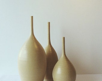 Ready to Ship wheel thrown stoneware teardrop bottles set of three