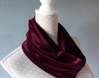 Maroon velvet snood, velvet loop scarf, deep maroon cowl