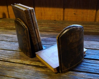 Vintage Leather Bookends (Free Shipping!)