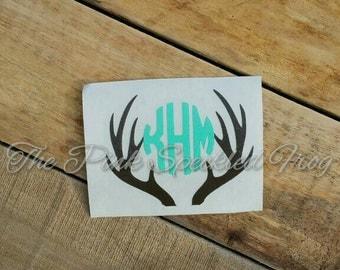 Deer antler circle monogram decal vinyl decal monogram decals deer decals hunting decals deer antler decals yeti cup decals car decals