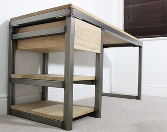 5ft Edgar Industrial Desk Table with Drawer Vintage Style Oak Steel