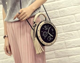 Fashion Round Shape Fringe Zipper Clock Shoulder Bag
