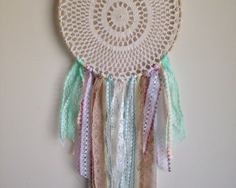 Doily dreamcatcher with lace ooak