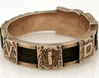 "Antique ""My David"" Victorian Gold Mourning Ring w/Hair"
