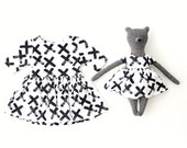 Matching Toy Bear and Baby Organic Cotton Dress in Black X Print