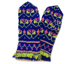 Hand knitted mittens, wool mittens, colorful mittens. Stay warm and stand out!