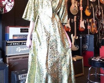 Vintage Gold Floral Brocade Empire Waist Gown