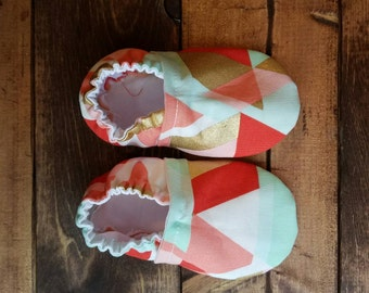 9-12 month multicolor baby shoes, infant crib shoes, fabric moccasins, cloth baby booties