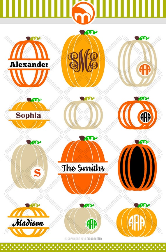 Fall Pumpkin Svg Cut Files Monogram Frames For Vinyl